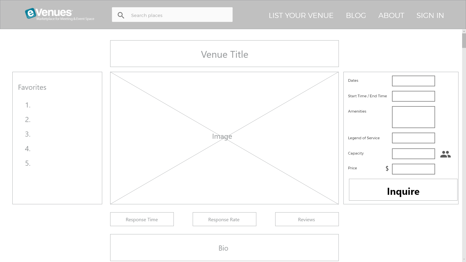 Wireframe of venue listing